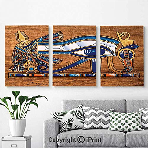 Wall Art Decor 3 Pcs High Definition Printing Egyptian Ancient Art Papyrus Depicting Horus Eye Mosaic Design Painting Home Decoration Living Room Bedroom Background,16