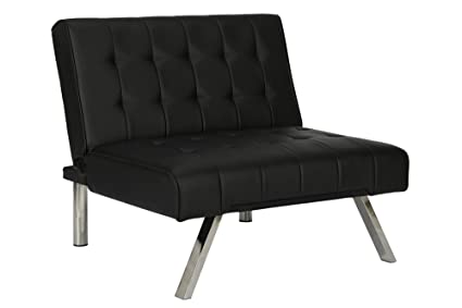 DHP Emily Accent Chair with Split-Back and Chrome Legs Black Faux Leather  sc 1 st  Amazon.com & Amazon.com: DHP Emily Accent Chair with Split-Back and Chrome Legs ...