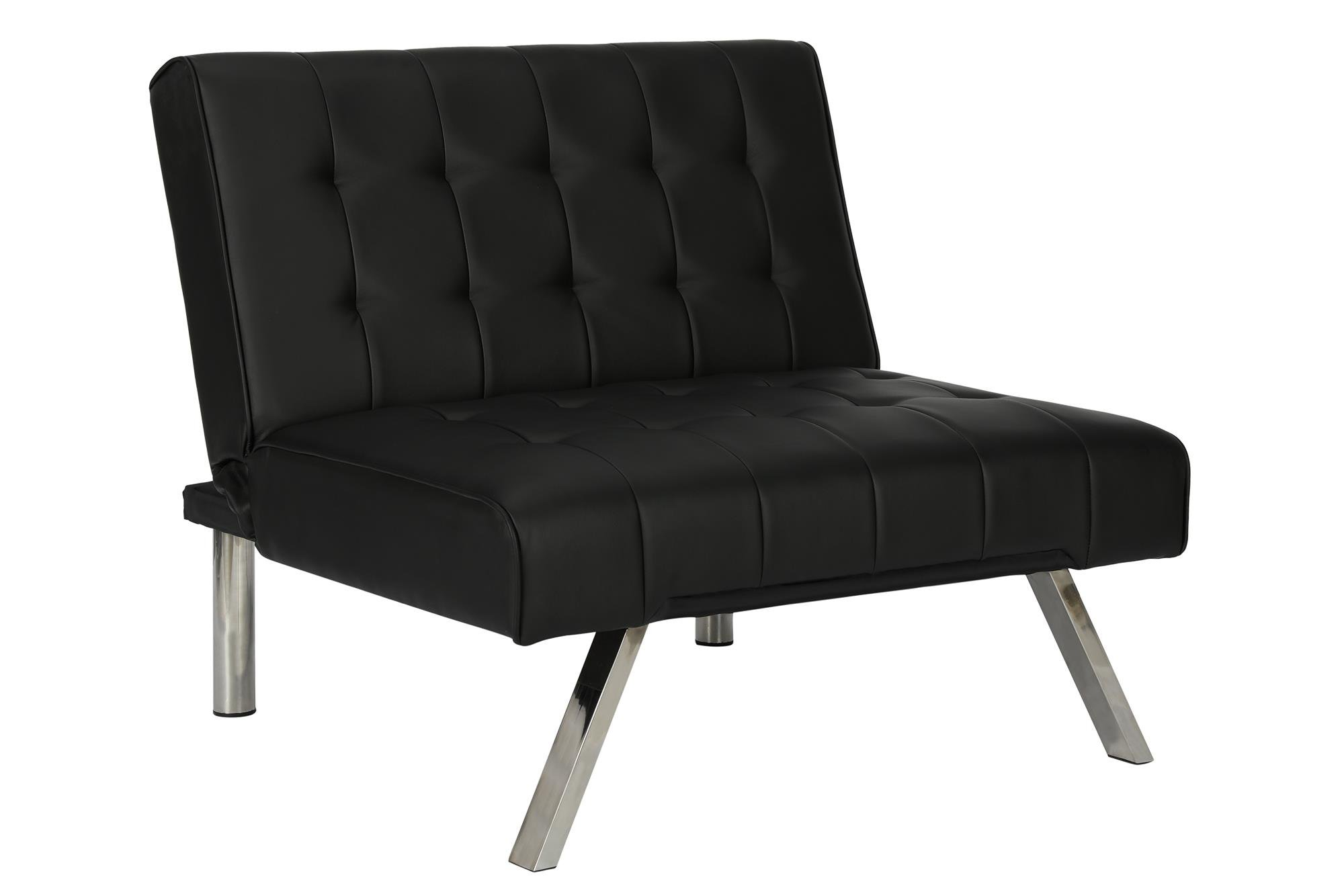 DHP Emily Accent Chair with Split-Back and Chrome Legs, Black Faux Leather