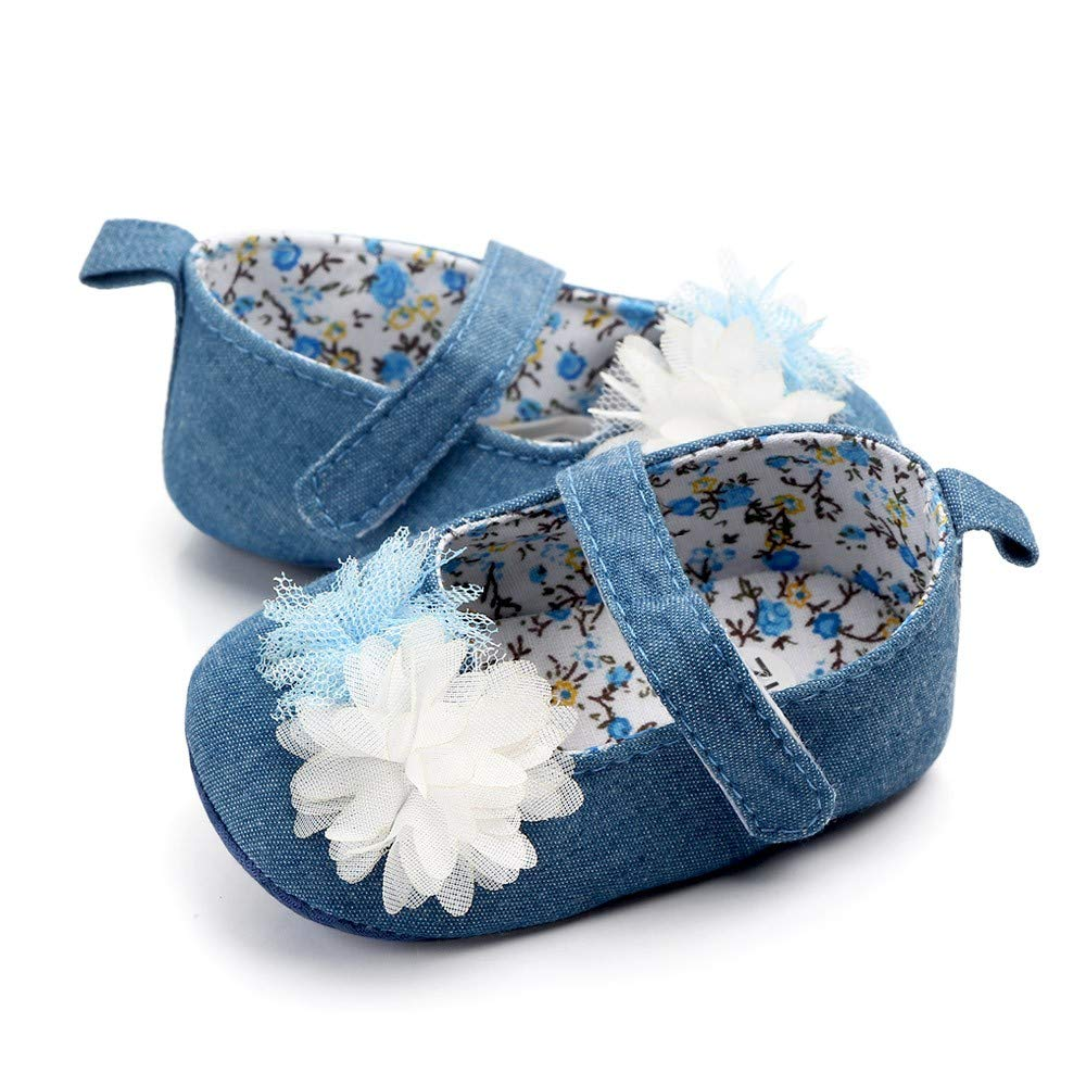 NUWFOR Newborn Baby Cute Girls Canvas Flower Single First Walker Soft Sole Shoes(Blue,0-3Months) by NUWFOR (Image #4)
