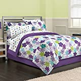 first at home graphic daisy comforter set full purple - Purple Comforters