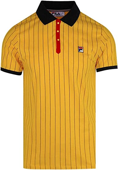Fila Vintage BB1 Polo Shirt | Gold Fusion/Black/Chinese Red Small ...