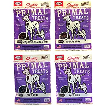 Primal Pet Foods Dog / Cat Primal Treats Nibs Variety Pack - 4 Flavors (Beef, Organic Chicken, Turkey, & Pork Nibs) - 4 Ounces Each (4 Total Pouches)