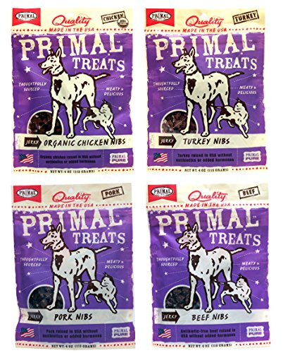 Primal Pet Foods Dog Cat Primal Treats Nibs Variety Pack – 4 Flavors Beef, Organic Chicken, Turkey, Pork Nibs – 4 Ounces Each 4 Total Pouches