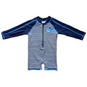 Baby Beach One-Piece Swimsuit UPF 50+ -Sun Protective Sunsuit,Blue Striped,6 Months