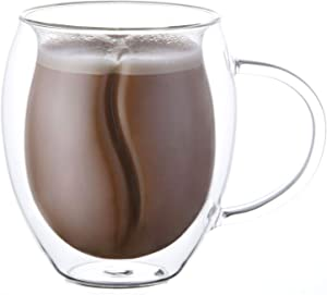 Yueshico Insulated Coffee Mugs -- Double Wall Glass Coffee Mugs Clear Glass Coffee Cups 12.7 Oz with Handles for Hot Beverages Cappuccino, Latte, Big Tea Cup. Glass Cups Best Coffee Gifts