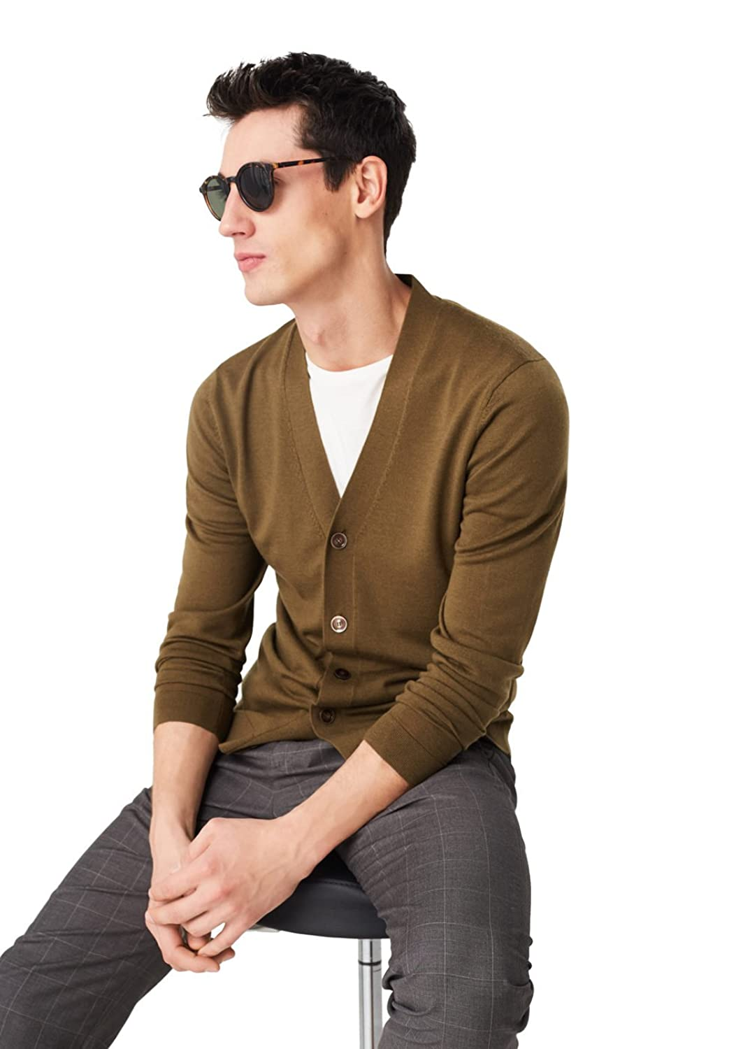 MANGO MAN - Wool-blend essential cardigan