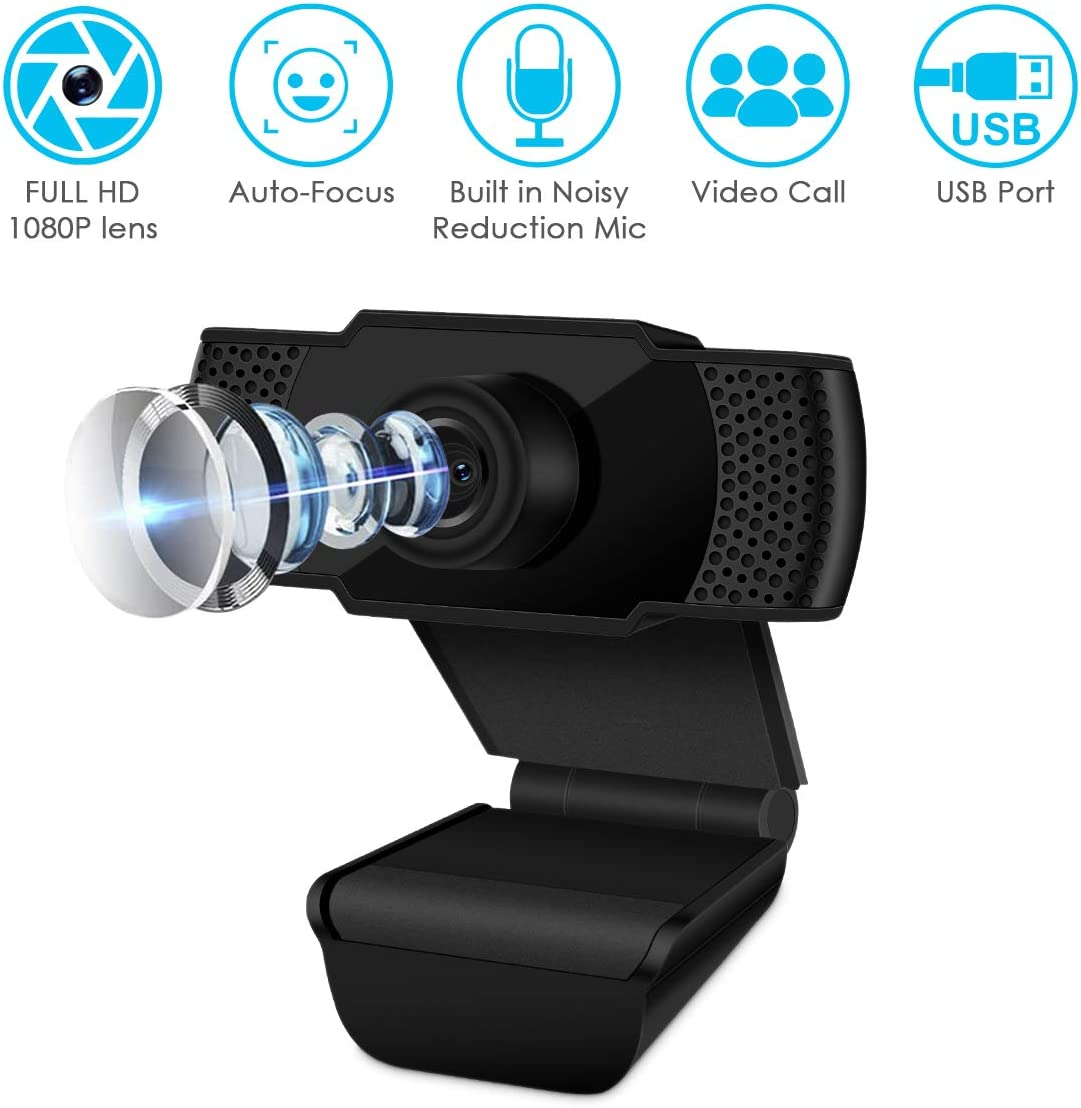 1080P HD Webcam with Microphone, Auto Focus Streaming Computer Camera with Microphone, for Video Conferencing, Online Work, Home Office,YouTube, Recording and Gaming, USB Plug Play, Black