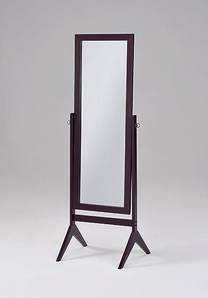 Amazon.com: Espresso Finish Wooden Cheval Bedroom Floor Mirror: Home ...