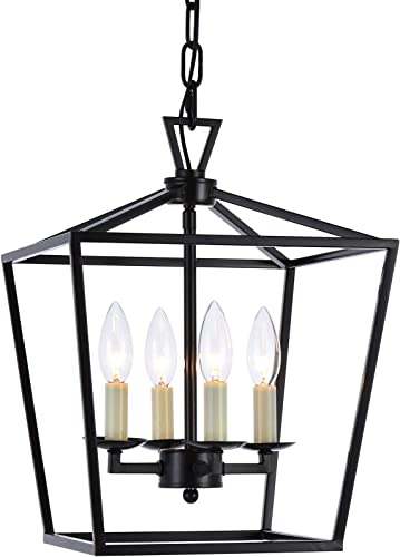 Lantern Pendant Lighting Fixture, A1A9 Iron Cage Frame Chandelier Industrial LED Ceiling Light for Foyer, Farmhouse, Dining Room, Entryway, Hallway, Stairway D12 H16 Chain 45 Dark Bronze