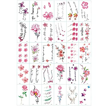 Amazon Com 30 Sheets Cute Small Flower Temporary Tattoos By