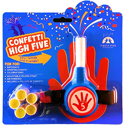 61ELj6nnuSL - FiestaFive - Confetti High Five HandHeld Toy Shooter with 6 Refills - Blast Confetti From Your Hands, Reloadable, Patented Perfect High Five Design, Safe Air Powered Party Favor - Red/White/Blue