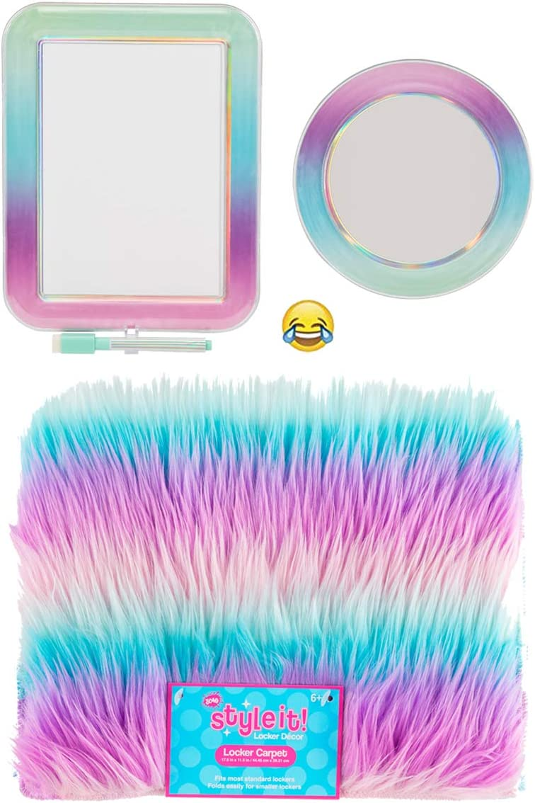 School Locker Organizer Kit - Accessories and Decoration Set with Rug, Mirror and Message Board (Ombre Stripe)