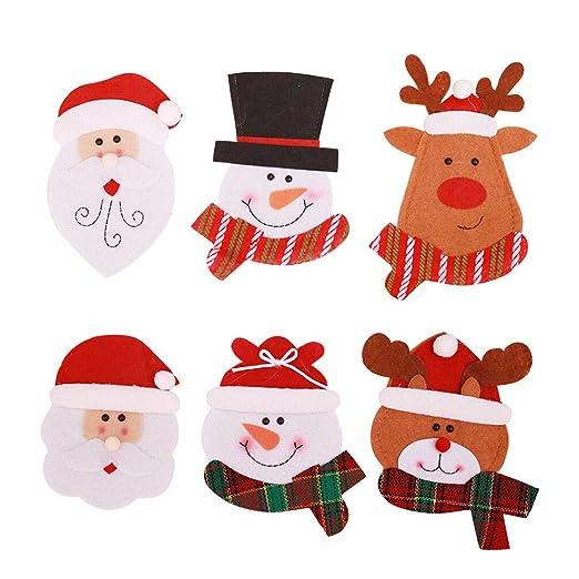 Deggodech 6 Piezas Bolsa Cubiertos Navidad de Monigote de Nieve Elk Papá Noel Cubertería Decoración Navidad Bolsillos Tenedores Cucharas y Cuchillos ...