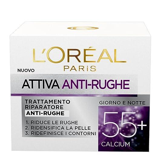 6 opinioni per L'Oréal Paris Attiva Antirughe 55+ Crema Viso Riparatore Anti-Rughe, 50 ml