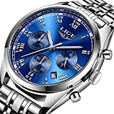 Luxury LIGE Brand Watches Men Business Analog Quartz Stainless Steel Luminous Waterproof Watch Chronograph Sport Dress Male Watches Silver Blue