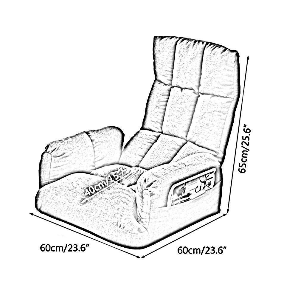 JIEER-C stol golvstol lat vardagsrum soffa med sidoförvaringsväska hopfällbar golvstol med armstöd meditation golvstol avtagbar och tvättbar loungestol, krämvit Brun