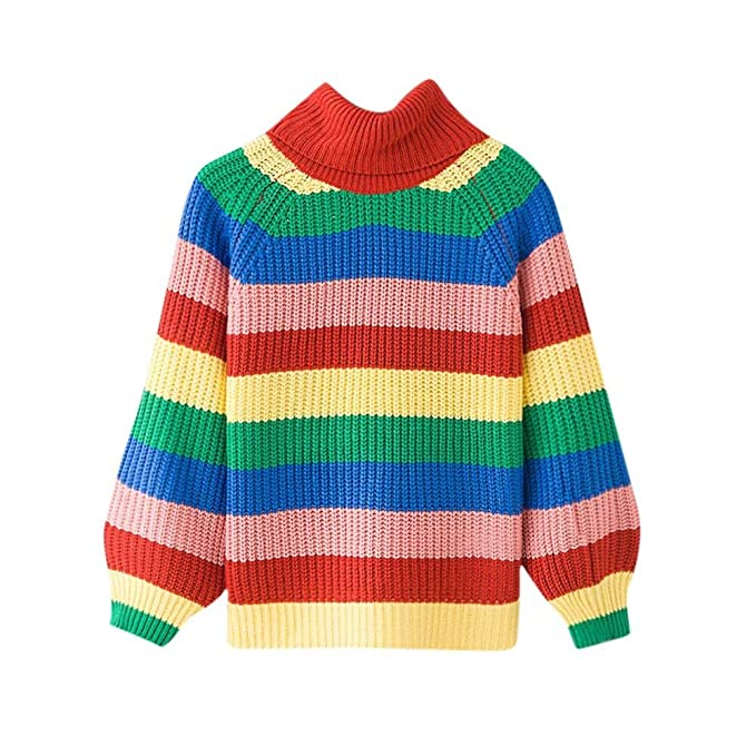 Smallrabbit Womens Knit Sweaters Long Sleeve Striped Rainbow Turtleneck  Warm Knitted Sweater (Bust\u003d110cm