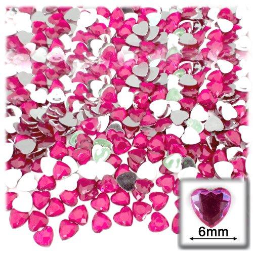 144pc Rhinestones Heart 6mm - Flatback Hot Pink or Rose HPK