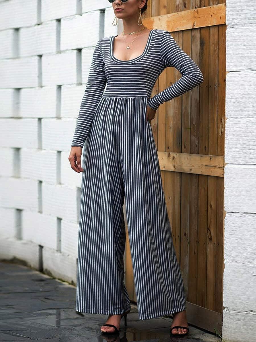 BIKITIQUE Womens Jumpsuit Striped Long Sleeve Low Cut Jogger Pants Wide Leg Long Pants Jumpsuit