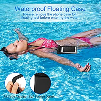 "Oneisall Floating Waterproof Case, Waterproof Phone Case Cellphone Pouch Underwater Dry Bag with Adjustable Landyard Compatible for iPhone//Samsung Galaxy//Google Pixel//HTC up to 6.0/"" Upgraded 2 Pack"