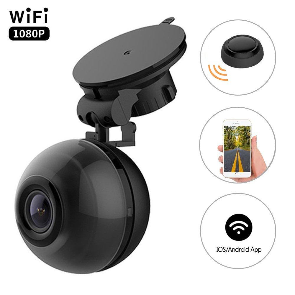 PEMENOL WiFi Dash Cam FHD 1080P Mini Dashboard Camera 140° Wide Angle Car DVR with Super Night Vision, G-Sensor, Loop Recording, Motion Detection, 360° Rotate Bracket, iOS & Android APP, Black