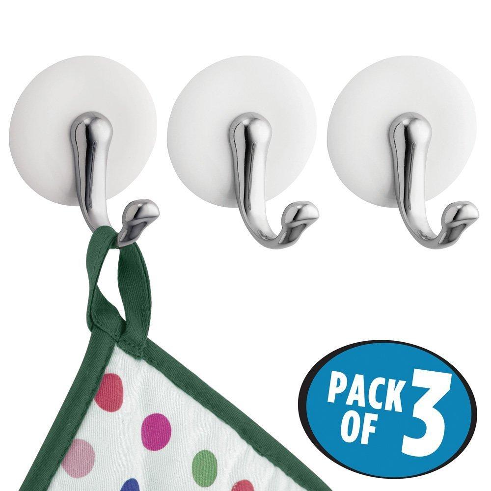 mDesign appendino, gancio adesivo – set di 3 - ideale come porta asciugamani per il bagno – colore nichel – adesivo - anche per giacche, cappelli, borse, ecc. MetroDecor