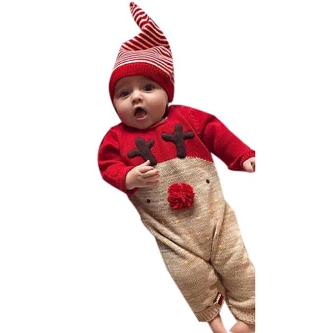 QinMM Conjunto de Mono de Navidad de Ciervos bebé recién Nacido ... 02e2600368e6
