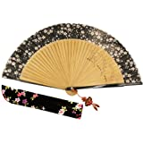 "Wise Bird Chinese Japanese Folding Hand Fan, Fashion Accessories Vintage Retro Style 8"" Bamboo/Wood/Sandalwood Fan, Silk Pocket Purse Fan, Wedding Favors, Home Decor with Sleeve/Embroidery Tassel-F305"