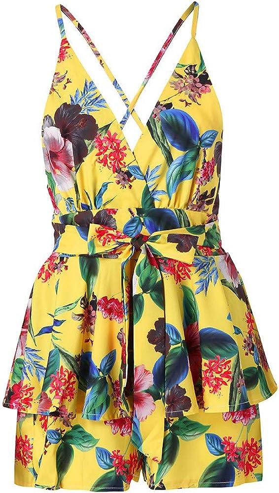 8be27f9305 Mini-Short imprimé Floral à col en V pour Femme Bandage Fête sur la Plage  Combi-Short Barboteuse