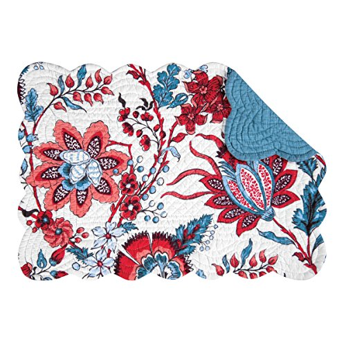 Set of 4 ADRIENNE Quilted Reversible Placemat by C&F Blues Red, Coral, Dark Taupe, White
