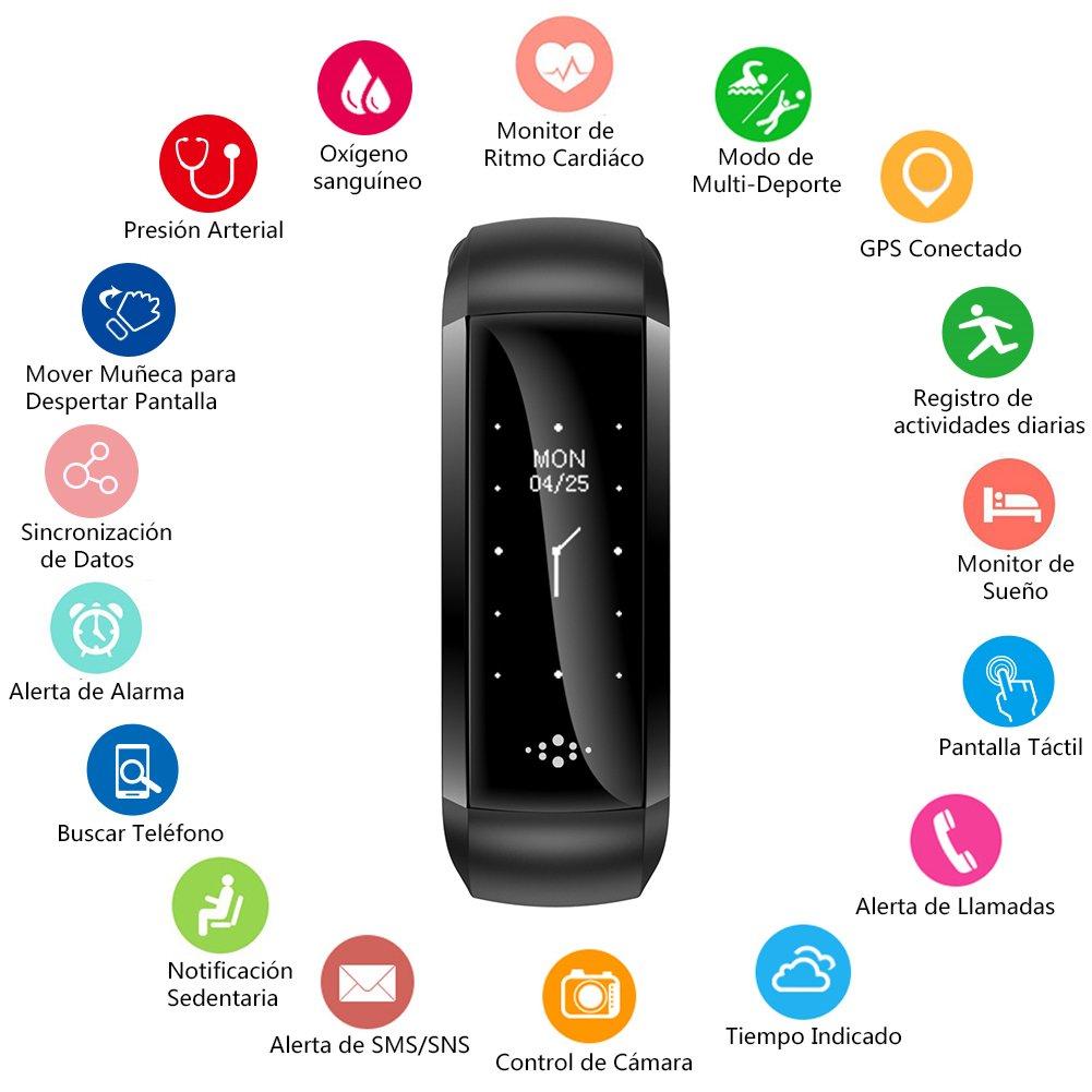 BANLVS Pulsera Actividad con Oxímetro y Presión Arterial Pulsera Inteligente con GPS Pulsómetro Monitor de Ritmo Cardíaco Pulsera de Actividad ...