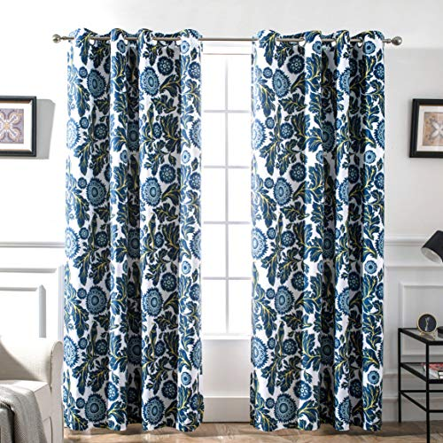 DriftAway Bird Tree Floral Flower/Leaf Lined Thermal Insulated Blackout/Room Darkening Grommet Energy Saving Window Curtains, 2 Layer, Set of Two Panels, Each 52