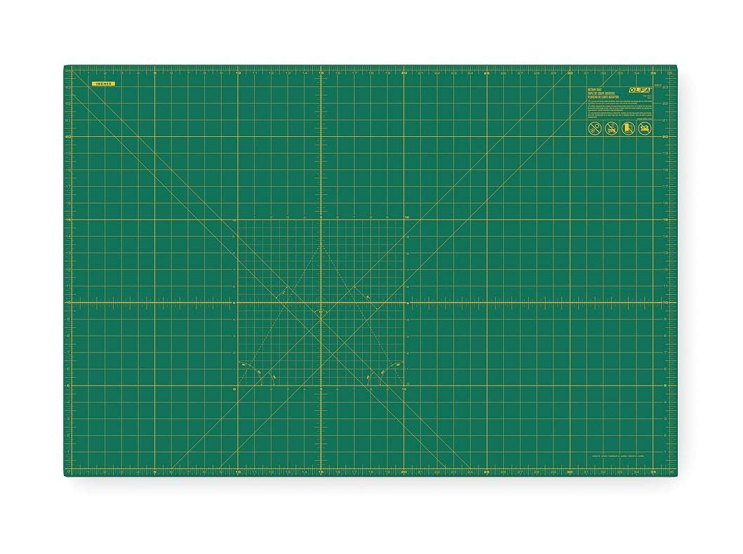 Olfa 24'' x 36'' Double Sided, Self Healing Rotary Cutting Mat, One Side Green with Yellow Lines, Other Sid - RM-MG