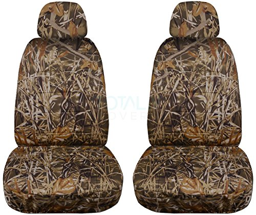 Camouflage Car Seat Covers w 2 Separate Headrest Covers: Wetland Camo - Semi-Custom Fit - Front - Will Make Fit Any Car/Truck/Van/SUV (22 Prints)