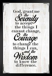 Serenity Prayer God Grand Me The Serenity Courage Wisdom Spiritual Decor Motivational Poster Bible Verse Christian Wall Decor Inspirational Art Scripture Decor Black Wood Framed Poster 14x20