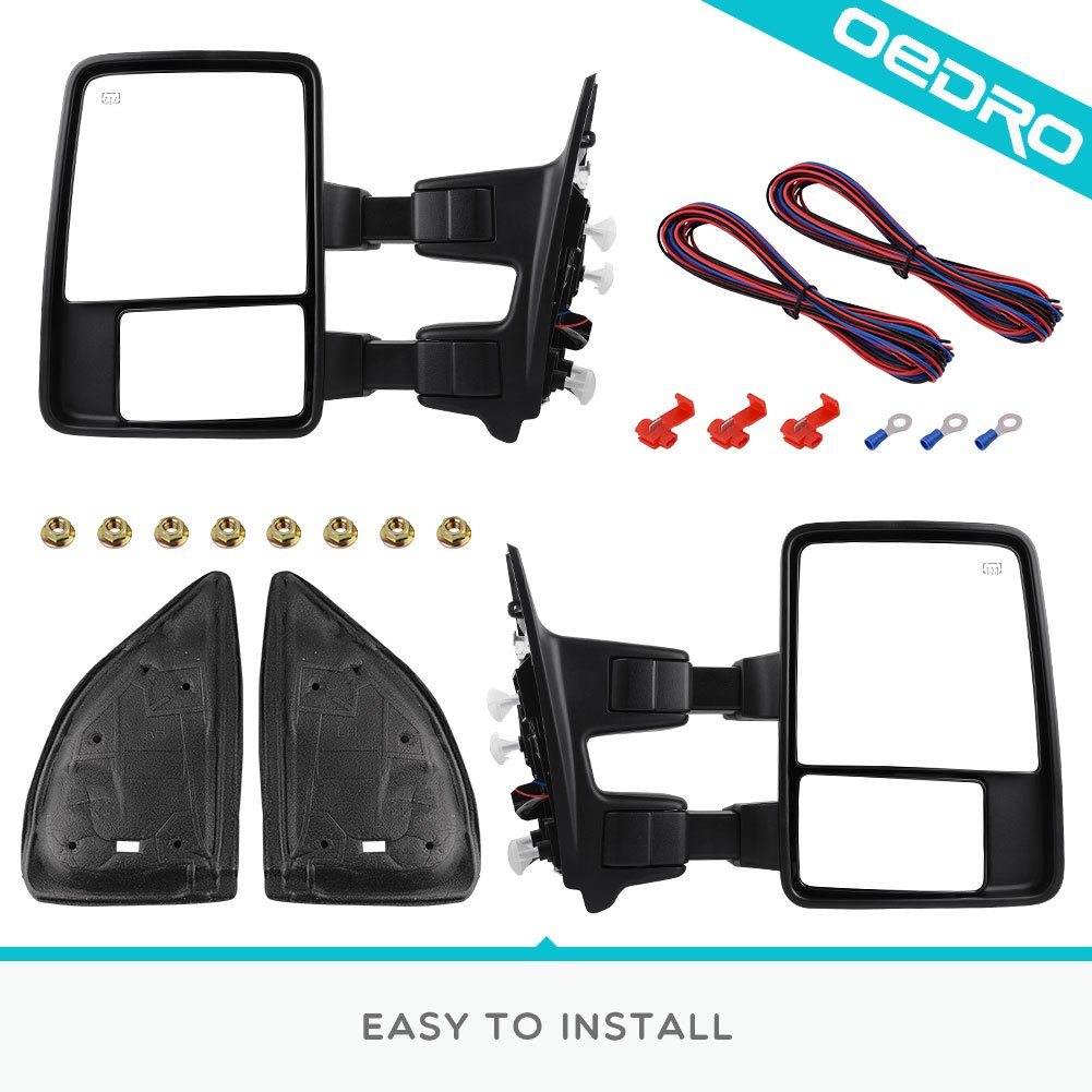 Towing Mirrors For 2008 2016 Ford F250 F350 F450 Super Duty Mirror Wiring Diagram Pair Set Telescoping Power Heated Puddle Light Signal With Air Temperature