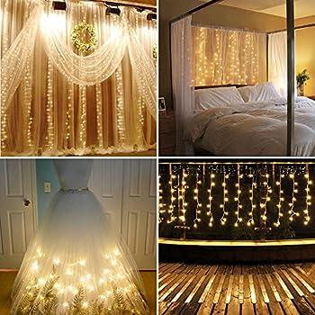 Window Curtain Lights, Kshioe 300 Leds 3mX3m White Christmas Icicle Fairy  Lights Led String Lights