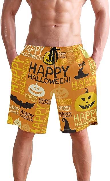 Happy Halloween Mens Beach Shorts Swim Trunks Stripe Quick Dry Casual Polyester Swim Shorts