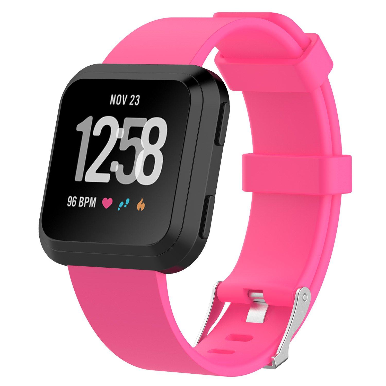 fitturn for Fitbit Versa Watch Bandsスモール&ラージ、交換用メンズ&レディースカラフルソフトシリコン手首スポーツストラップリストバンドブレスレットfor Fitbit Versa Smartwatch Small 5.5''-7.1'' ピンク B07BT767VV