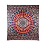 Handicrunch COR's Multi-colored Mandala Tapestry Indian Wall Hanging, Bedsheet, Coverlet Picnic Beach Sheet , Superior Quality Hippie Wall Tapestry or Bedspread in Organic Cotton Tree of Life 95 x 85 Inches