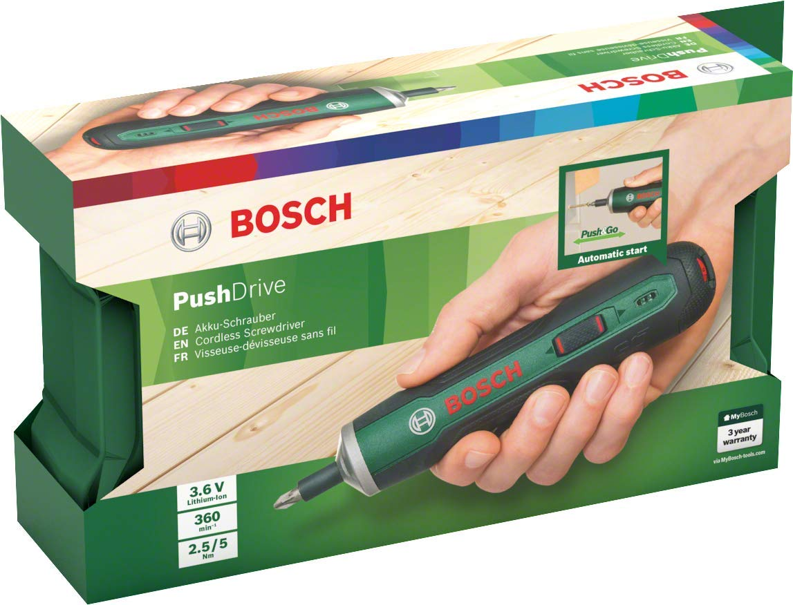 Bosch Push Drive - Atornillador (batería integrada 3,6 V 1,5 Ah, 360 rpm, en caja)