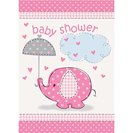 Amazon Com Pink Elephant Girl Baby Shower Invitations 8ct Kitchen