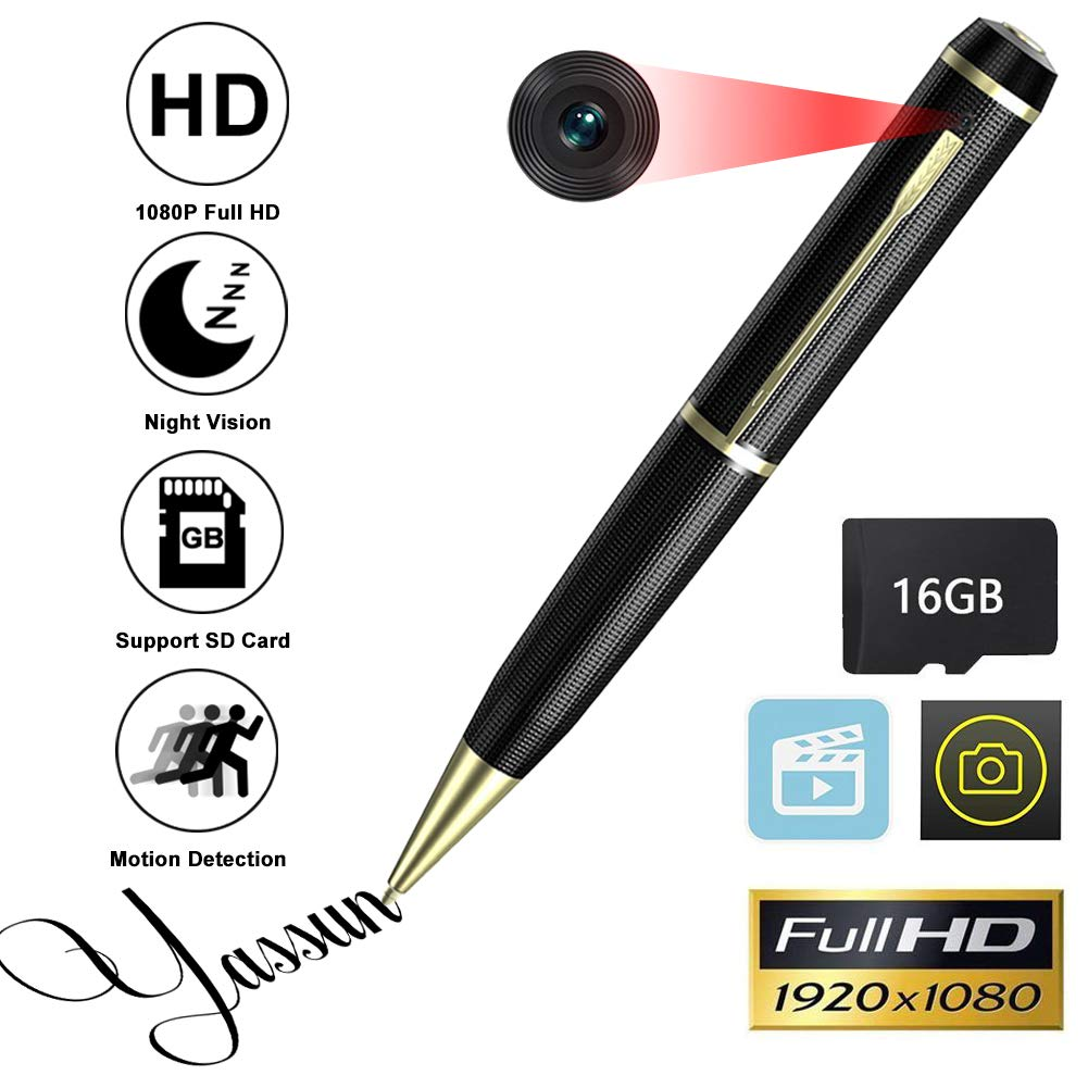 YASSUN Spy Pen Camera,16GB 1080P Full HD Mini Hidden Cam with Video and Photo Recorder Dvr by YASSUN