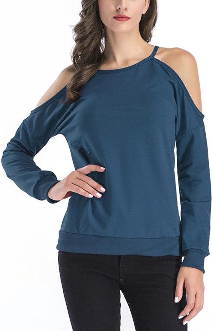 Casual Long Sleeve Cold Shoulder Tops Loose Shirts Blouse Realdo Womens Solid Strap T-Shirt