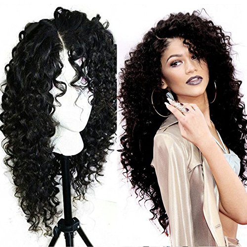 [Chanecci Long Deep Curly Lace Front Full Wigs For African Americanes Black Women Synthetic Fiber Hair Natural Looking 24
