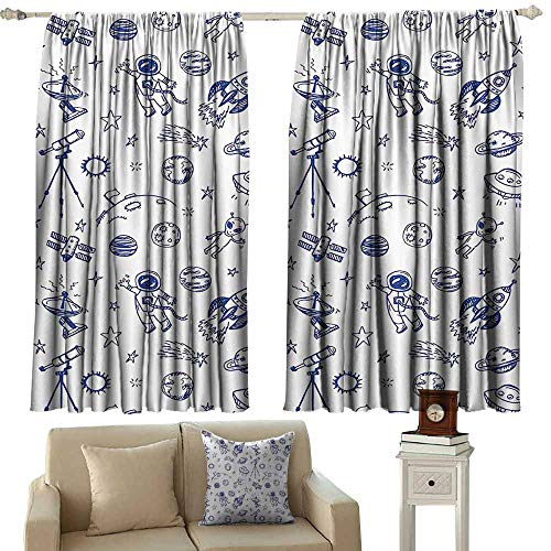 Sunnyhome Outdoor Patio Curtains,Apartment Decor Collection Original Outer Space Featured Celestial Planetary Solar System Properties UFO Graphic,Room Darkening Thermal,W72x63L Inches,Blue White