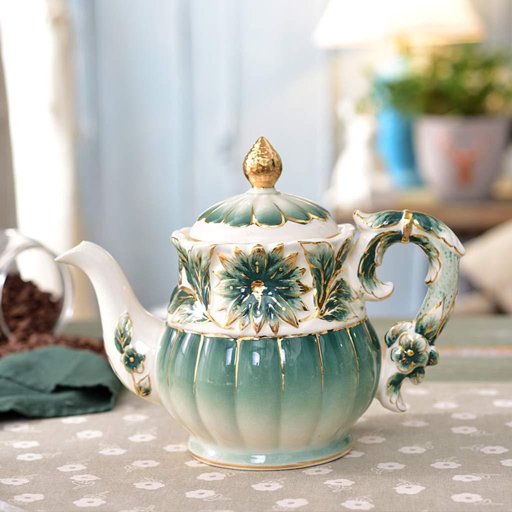 CSQ Coffee Cup Afternoon Tea Set, Ceramic Coffee Pot Household Eight-Piece Tea Set Scented Tea Teapot Capacity: 1050ml Afternoon Tea (Color : Green) by Tea set-CSQ (Image #4)