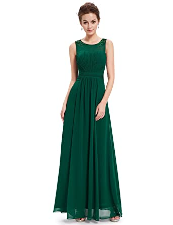 Ever-Pretty Womens Round Neck Ruffled Dimante Long Evening Dress 18UK Green