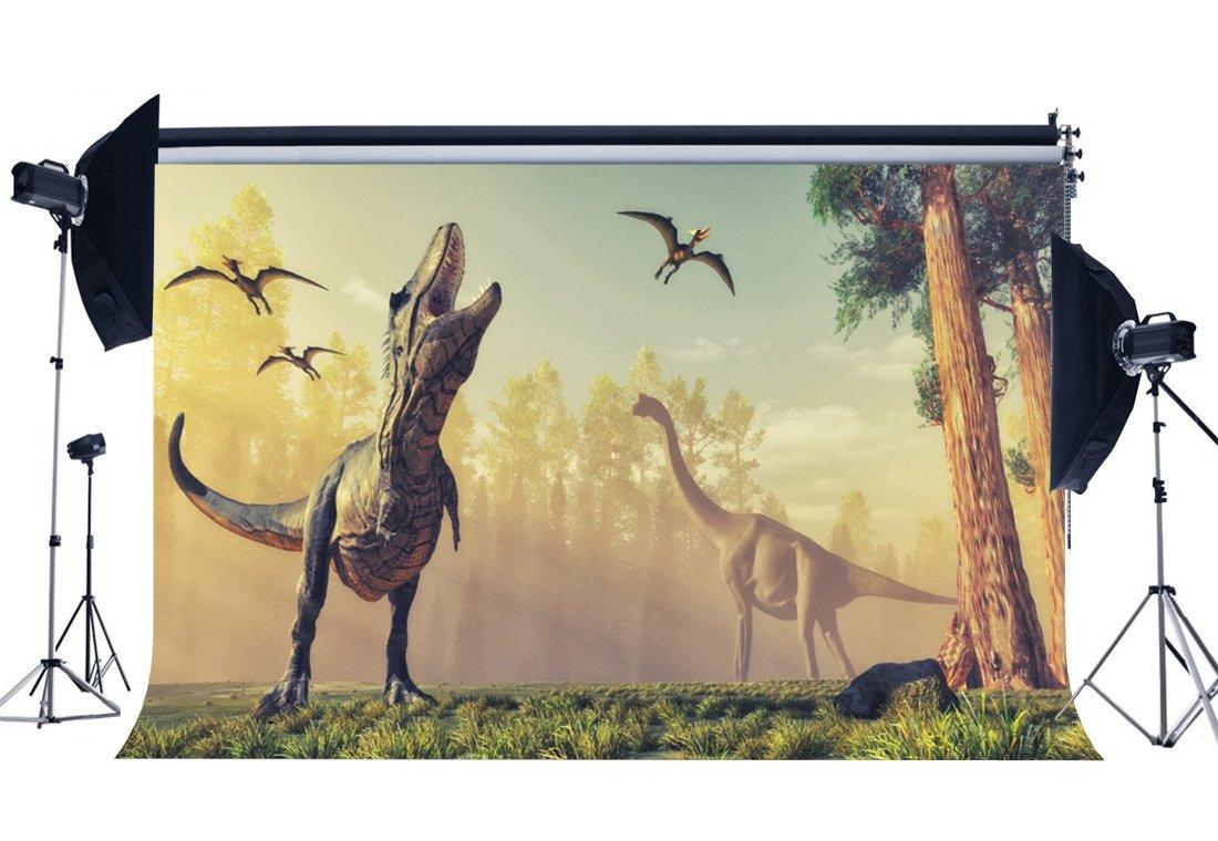 RBabyPhoto 恐竜 背景幕 7X5フィート 3D 恐竜 ジュラシック ピリオド ジャングルフォレスト 男の子 誕生日 デザート テーブル 壁紙 写真撮影 背景 子供部屋 ペーパー写真スタジオ小道具 ビニール CK209   B07FTKJLXP